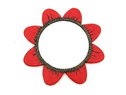 decorative wall mirror red flower