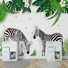 Custom Photo 3d Wallpaper For Kids Room Creative Hand Painted Zebra Green Tree Leaf Children Bedroom Decor Wall Sticker Mural 450x300cm Amazon Com