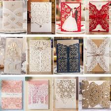 Compre Blanco Muestra Floral Laser Invitaciones De La Boda Del