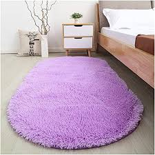 Amazon Com Softlife Fluffy Area Rugs For Bedroom 2 6 X 5 3 Oval Shaggy Floor Carpet Cute Rug For Girls Room Kids Room Living Room Home Decor Purple Home Kitchen