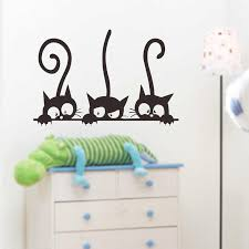 Living Room 3 Black Cute Cats Lovely Pvc Wall Decals Girls Vinyl Wall Stickers Bedroom Home Decor Mural Art Children Rooms Wall Stickers Aliexpress