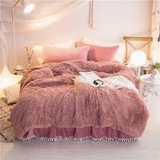 rose faux fur super soft duvet cover