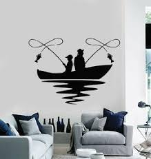 Vinyl Wall Decal Fishing Lake Boat Hobby Fish