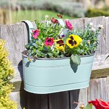 12in Fence Balcony Hanging Planter Sage Smart Garden Products