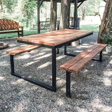 picnic table plans 6ft steel and wood