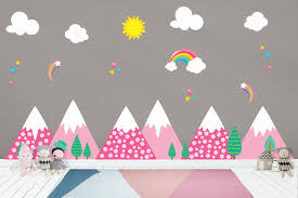 Mountain Scene Nursery Wall Decals Pink Mountains Girls Themed Nurserydecals4you
