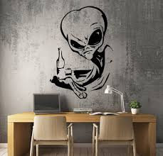 Vinyl Decal Angry Alien Drinking Vodka Ufo Funny Unique Wall Etsy