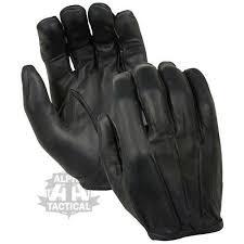 kevlar black leather fingerless gloves