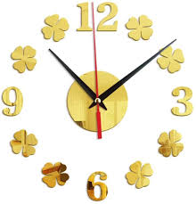 Amazon Com N A Wall Clock Wood Creative Four Leaf Clover Wall Stickers Clocks Home Decoration Mirror Stickers Living Room Bedroom Wall Clock Mute Suitable For Shop Kitchen Home Kitchen