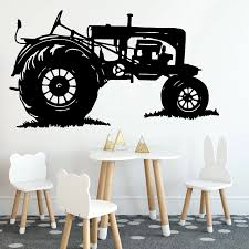 Tractor Wall Stickers Boys Room Home Decor Classic Car Dormitory Vinyl Wall Decals House Decoration Vintage Wall Paper Y758 Wall Stickers Aliexpress