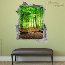 Forest Wall Decal Woods Hole In The Wall 3d Effect Wall Etsy