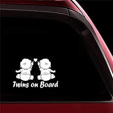 Amazon Com Ytedad Car Sticker Car Decal 15x10cm Twins On Board Sign Car Decals Art Car Trunk Safety Car Body Window Door Rear Windshield Home Kitchen