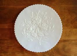 rose satin milk glass cake plate