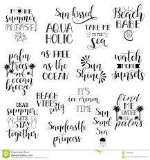 summer holidays and vacation quotes phrases and words vector set