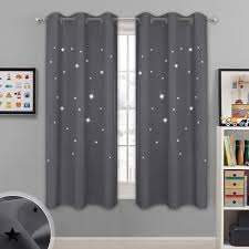 Amazon Com Nicetown Blackout Star Curtains For Kids Hollow Out Star Shaped Room Darkening Window Drapes For Space Themed Nursery Boys Room Decor 2 Panels 42 Inches Wide X 63 Inches Long Grey Home