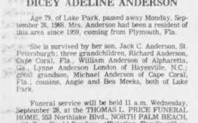 Obituary for DICEY ADELINE ANDERSON (Aged 79) - Newspapers.com
