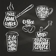coffee lettering in cup grinder pot chalk shapes modern