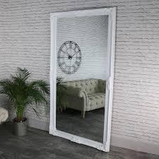 full length ornate white wall mirror