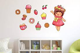 Amazon Com Wallmonkeys Kawaii Little Girl With Wall Decal Sticker Set Individual Peel And Stick Graphic For Girls 48 In W X 32 In H Wm56150 Home Kitchen
