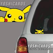 Pikachu Peeking Inspired Car Laptop Vinyl Decal Etsy