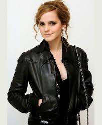 emma watson black leather jacket