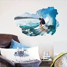 Amazon Com Surfing The Wall Sea Waves Wall Decal Home Sticker Pvc Murals Paper House Decoration Wallpaper Living Room Bedroom Art Picture For Kids Teen Senior Adult Baby Arts Crafts Sewing