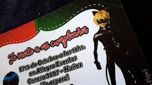 Tarjetas Invitaciones Cumpleanos Ladybug Chat Noir Cat Noir 22
