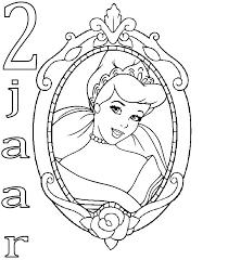 Kids N Fun Kleurplaat Prinsessen Verjaardag Assepoester 2 Jaar