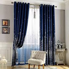 Amazon Com Navy Blue Blackout Kids Room Curtains 1 Panel Boys Nursery Room Darkening Thermal Insulated Drapes For Bedroom Living Room Grommet Top Window Treatments Curtains 40 X 98 Inches Long Blue Silver Kitchen