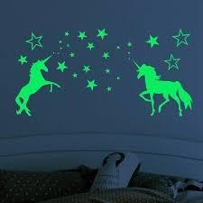 Unicorn Amp Stars Glow In The Dark Wall Stickers Art Decals Kids Bedroom Decor Kids Room Wall Stickers Wall Stickers Kids Sticker Wall Art