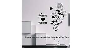 Wall Stickers Handmade Products Disney Minnie Love Tennis Removable Vinyl Wall Art Decal Stickers Girls Personalized Name Home Decor