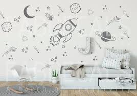 Space Wall Decals Rocket Decal Space Ship Decal Boys Room Etsy