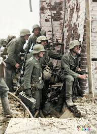 German 6th Army Infantrymen pause in the... - WW2 Colourised ...