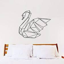 Amazon Com Swan Wall Decal Geometric Animal Swan Art Wall Sticker 3d Home Decor Removable Creative Vinyl Room Vinyl Art Mural Room Decoration White Home Kitchen