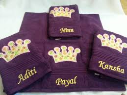 embroidered towels couple towel other