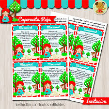 Caperucita Roja Invitacion Textos Editables
