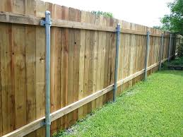 Installing Metal Post To Wood Fence Bracket Awesome Fence Ideas Metal Fence Posts Wood Privacy Fence Fence Post Installation