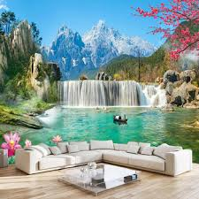 Snow Mountain Waterfall 3d Large Mural Wallpaper Wall Decals For Living Room Bedroom Background Photo Wall Paper Self Adhesive Leather Bag