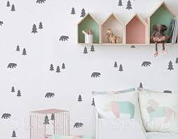 Amazon Com Wall Decals Wall Stickers Scandinavian Pattern Bears And Pine Trees Wall Decals Removable Vinyl Wall Stickers Decals Surface Inspired 1031 Handmade