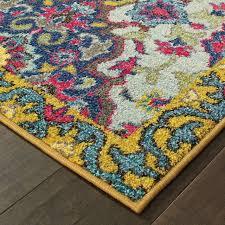 fl medallions blue yellow area rug