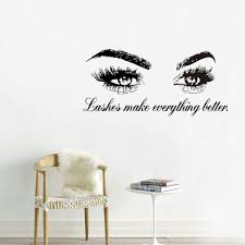 Amazon Com Boodecal Wall Decal Quotes Lashes Make Everything Better Eyes Wall Decal Eyelashes Wall Mural Art Decor Sticker Make Up Wall Decal Girls Eyes Eyebrows Mural Beauty Salon Decoration Makeup Wall Sticker
