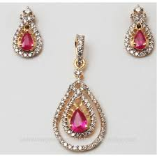 big pear design ruby diamond studded