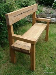 rustic oak garden bench with backrest