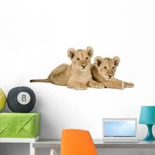 Two Lion Cubs Wall Decal Wallmonkeys Com