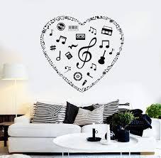 Vinyl Wall Decal Musical Heart Music Art Love Room Stickers Mural Uniq Wallstickers4you