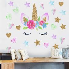 Cartoon Watercolor Flower Unicorn Home Decor Kids Room Bedroom Diy Vinyl Wallpaper Living Room Decoration 3d Art Decals Murals Wall Stickers Aliexpress