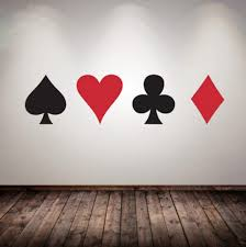 Amazon Com Zhrrya Poker Cards Vinyl Wall Decal Suit Playing Game Room Decoration Poker Casino Vinyl Poster Heart Diamond Shape Wall Sticker 15cm Tall Of Each Kitchen Dining