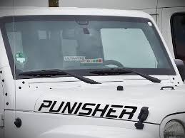 2x Decal Sticker Vinyl Hood Punisher Letters Compatible With Jeep Wrangler Jk Unlimited Rubicon Sahara Sport S Ultimateprocy