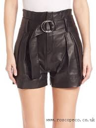 elegant metz leather shorts women black