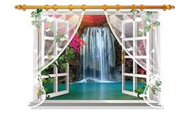 Dopin 3d Fake Windows Sunflower Wall Stickers Flower Landscape Sea Island Faux Windows Wall Decal Home Sticker Paper Art Picture Diy Murals 60 90cm 23 62 35 43 5 Waterfall Buy Online In Kuwait Amtoodopin Products